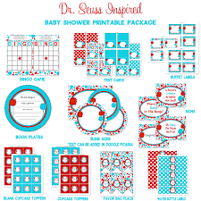 dr seuss baby shower printable package turquoise u0026 red truffela