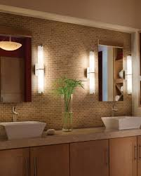 oversized window with wonderful night view idea feat best bathroom brick backsplash tile design with glass flower vase display and appealing bathroom wall lighting ideas chic ceiling