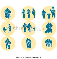 family simple silhouette icons representing family stock vector