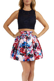 teeze me juniors two piece halter spaghetti strap top printed a