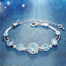 blue crystal bracelet swarovski images Valentines day gifts women love heart shaped swaroski jpg