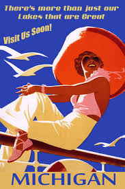 Michigan how to travel for free images Visit michigan fashion lady boat travel vintage poster repro free jpg