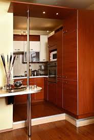 brown varnish wood full area floor small kitchen design stainless