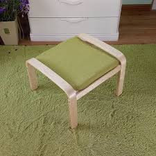 Ottoman Small Comfortable Wooden Stool Ottoman Footstool With Linen Fabric