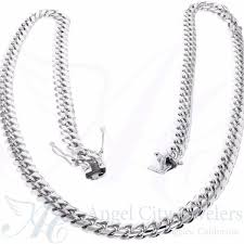 black gold chain necklace images Solid 10k white gold cuban link chain necklace jpg