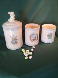 kitchen canisters ceramic vintage kitchen canisters rabbit canisters easter bunny canister