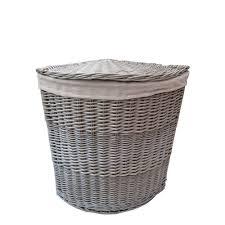 grey laundry hamper antique wash wicker corner laundry basket
