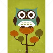 23r retro owl on retro tree 5 x 7 print on luulla