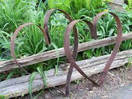 rusty metal trellis screen twisted metal fern yard deco