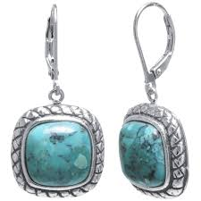 turquoise drop earrings sterling silver enhanced turquoise inlay rope square drop earrings