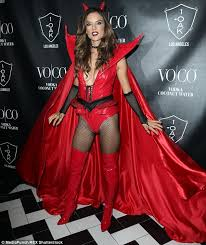 Angel Devil Halloween Costumes Alessandra Ambrosio Flashes Cleavage Red Devil Costume