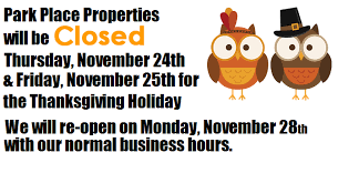 2016 thanksgiving hours park place properties