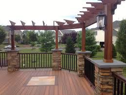 marc u0027s deck u0026 patio deck with stone columns and pergola u2013 1
