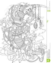 mysterious snake coloring page stock illustration image