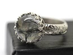 Sterling Silver Engravable Jewelry Tourmalinated Quartz Ring Renaissance Ring Engravable Jewelry