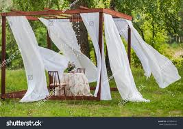 Outdoor Gazebo With Curtains by Outdoor Gazebo White Curtains Wedding Decorations Stock Photo