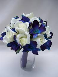 jennifer u0027s bridal bouquet with blue violet dendrobium orchids
