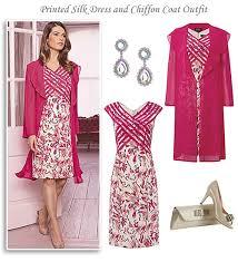 dress and jacket for wedding silk print dress and pink chiffon coat occasion dress