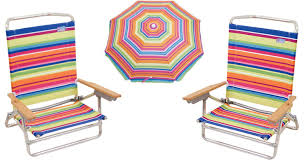 Rio Brand Chairs Camping Station 2 Classic 5 Position Lay Flat Beach Chairs And