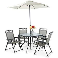 Patio Umbrella Table And Chairs Amazon Com Outdoor 6 Piece Folding Patio Dining Furniture Set