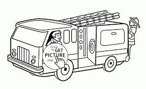 fireman in the fire truck coloring page for kids transportation
