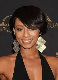 pic of black women side swept bangs and bun hairstyle keri hilson side parted straight cut with long side swept bangs