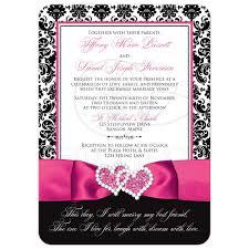wedding invitation photo optional black and white damask