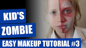 halloween kids makeup tutorial half dead zombie makeup youtube