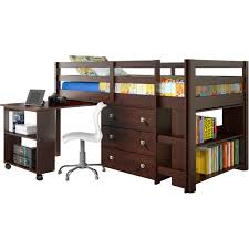 Bedroom  Low Dark Wooden Loft Bed With Pull Out Desk And Storage - Full bunk bed with desk
