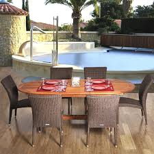 Stackable Patio Furniture Set Amazonia Lemans 6 Person Resin Wicker Patio Dining Set With