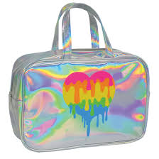 holographic bags holographic heart large cosmetic bag iscream