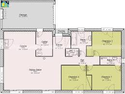 plan maison plain pied 3 chambres 100m2 plan de maison de plain pied avec 3 chambres