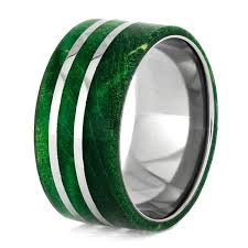 titanium rings images Green box elder burl wood wedding band set green titanium rings jpg
