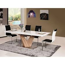 White And Oak Dining Table Catchy Oak Veneer Dining Table Alaras White High Gloss Extended