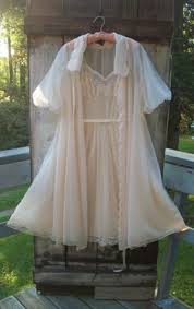 Vanity Fair Gowns And Robes 50s 60s Vanity Fair Ivory Chiffon And Ecru Lace Nightgown