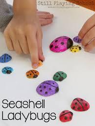 seashell ladybug craft still playing