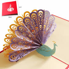 Beautiful Invitation Card Aliexpress Com Buy 3d Beautiful Peacock Greeting Cards Handmade