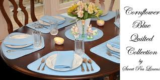 Table Runners For Round Tables Sweet Pea Linens Cornflower Blue Solid Quilted Placemats For