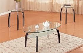 Metal And Glass Coffee Table Amazon Com 3pc Modern Oval Metal And Glass Coffee U0026 End Table Set