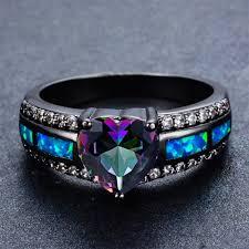opal wedding ring october birthstone ring rainbow opal wedding rings bamos jewelry