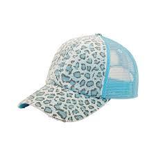 Blue Leopard Print Mg Women U0027s Print Mesh Canvas Trucker Baseball Cap Hat Blue