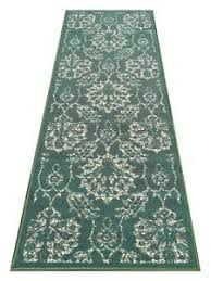 Floral Runner Rug 2 X 6 Rubber Backed Non Slip Teal Green Ivory Color Floral