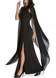 solid black cape sleeve front slit maxi dress rosewe com usd