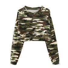 army pattern crop top harajuku camouflage long sleeve t shirt women short design crop top