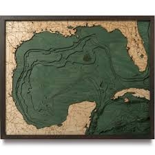 New Mexico Topographic Map by Gulf Of Mexico Wood Map 3d Nautical Topographic Chart Framed Art