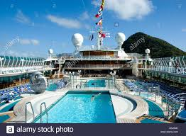 early morning sun on the lido deck of the cruise ship oceana as