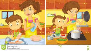cuisine de maman maman de aide de fille dans la cuisine illustration de vecteur