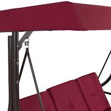 Lawn Swing Converting Outdoor Swing Canopy Hammock Seats 3 Patio Deck