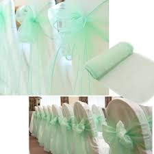 mint green chair sashes promotion mint green 10m 1 35m sheer organza swag fabric home