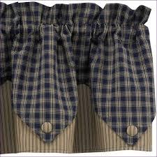 country plaid curtains navy blue buffalo check homespun valances